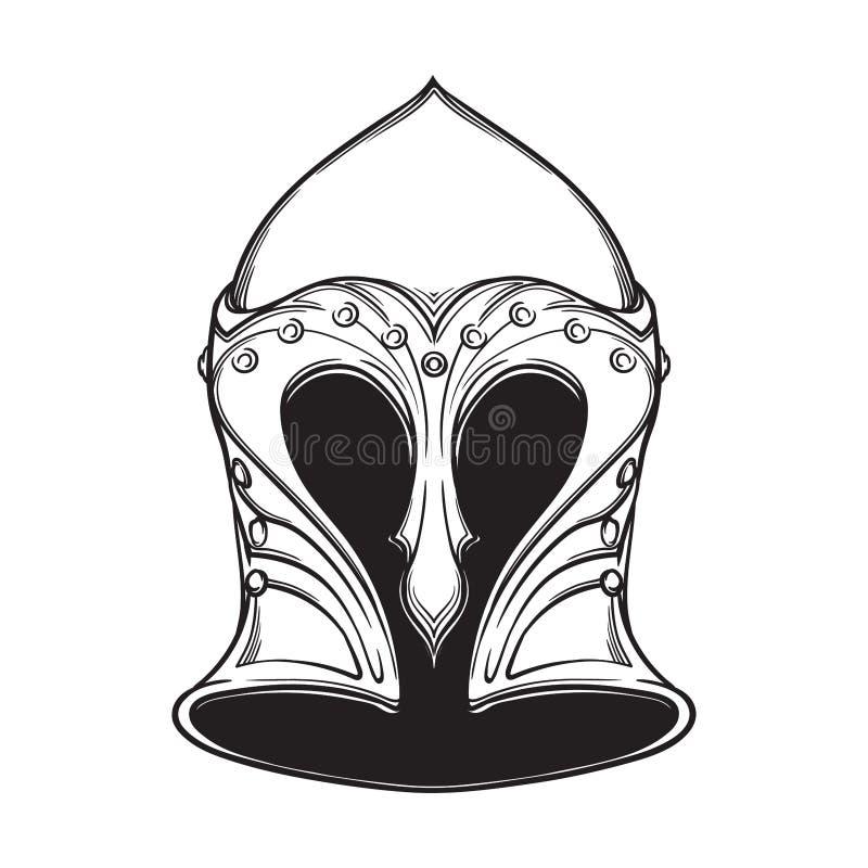 Casque d'Elven d'imagination Élément héraldique Noircissez un dessin blanc de ND d'isolement sur le fond blanc illustration stock