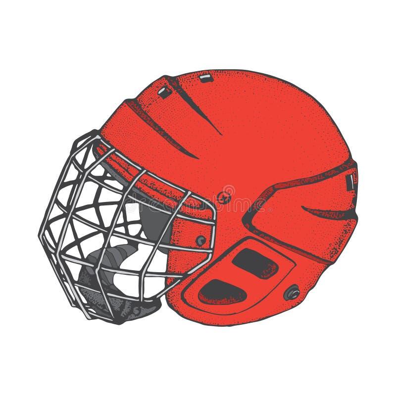 Casque d'hockey avec le masque Vue de côté Illustration de vecteur de sports d'isolement sur le fond blanc Article de sport de ho illustration stock