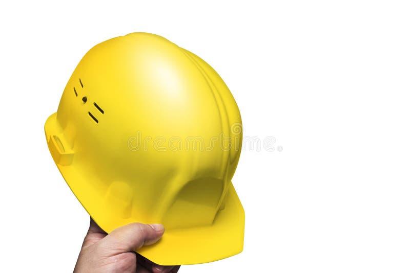 Casque de construction, hommes disponibles de casque image stock