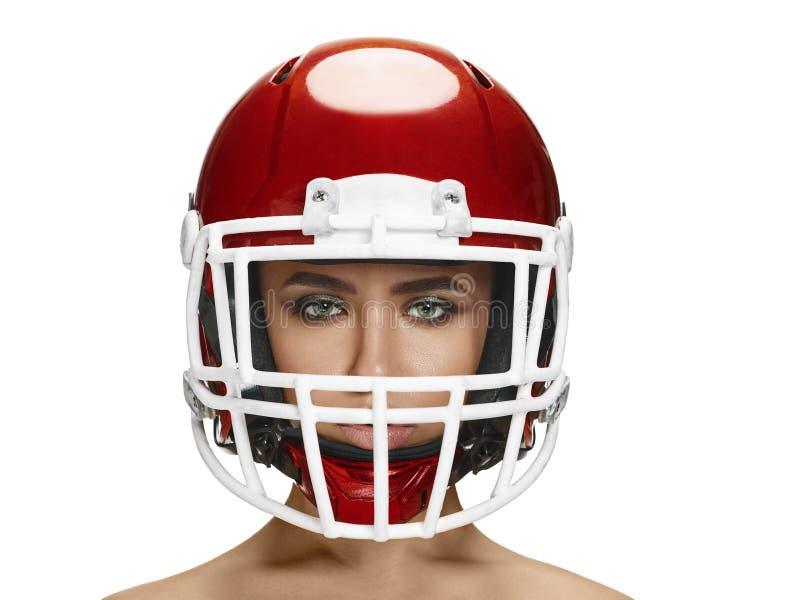 Casque de femme de thème de football américain images libres de droits