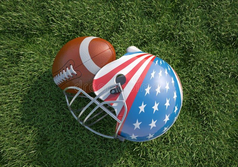 Casque de football américain décoré comme drapeau et boule des USA, sur l'herbe. illustration de vecteur
