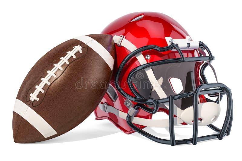Casque de football américain et boule, rendu 3D illustration stock