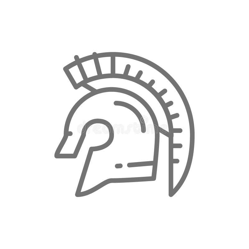 Casque de guerrier de gladiateur, ligne spartiate icône illustration de vecteur