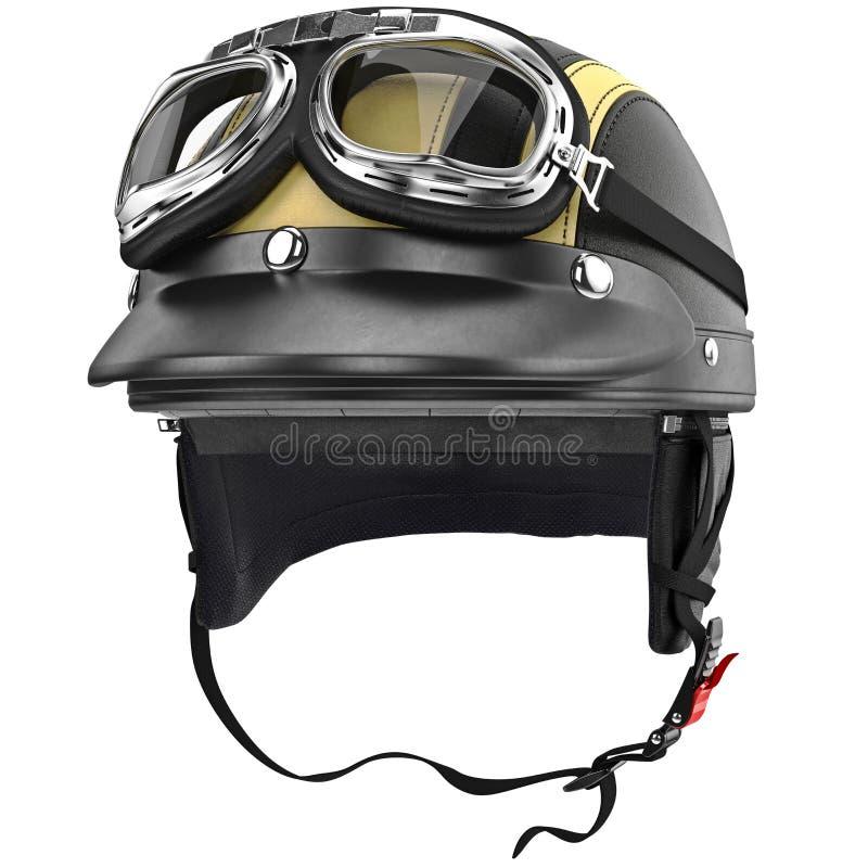 Casque de moto de motard avec le rétro style de lunettes photos stock