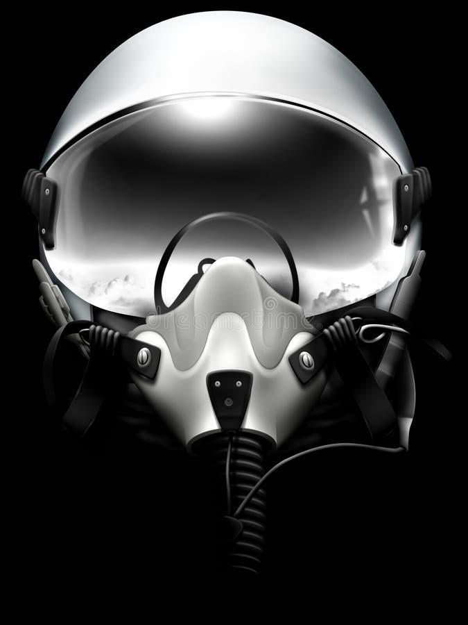 Casque de pilote d'avion de chasse de jet sur le noir illustration de vecteur