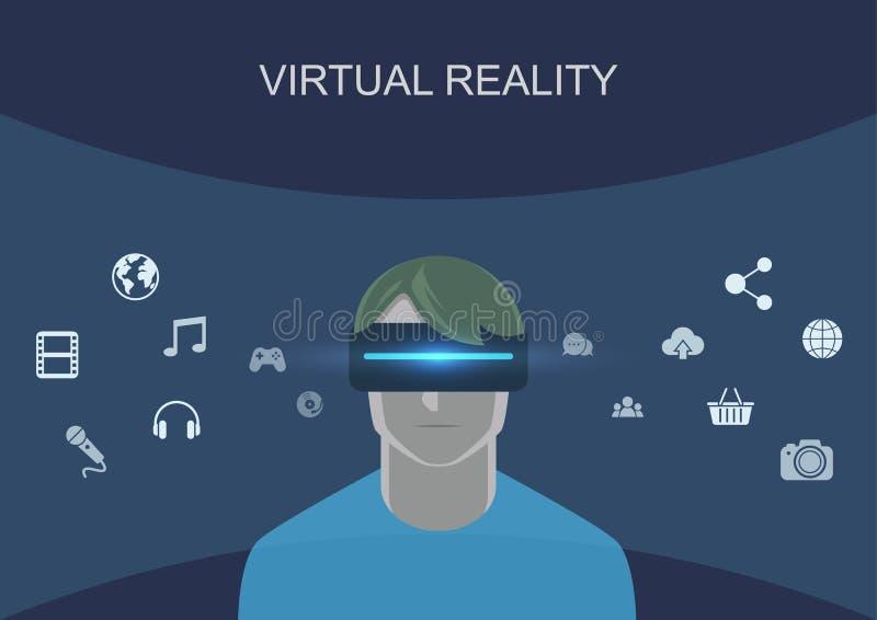 Casque de port de réalité virtuelle d'homme photographie stock libre de droits
