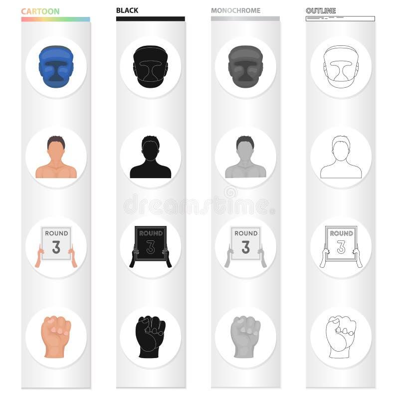 Casque de protection, aspect du ` s de boxeur, 3 comprimé rond, icônes réglées de collection de boxe de poing dans le monochrome  illustration stock