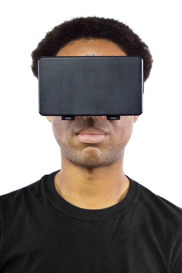 Casque de réalité virtuelle sur le mâle noir images stock