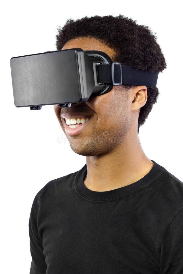 Casque de réalité virtuelle sur le mâle noir images libres de droits