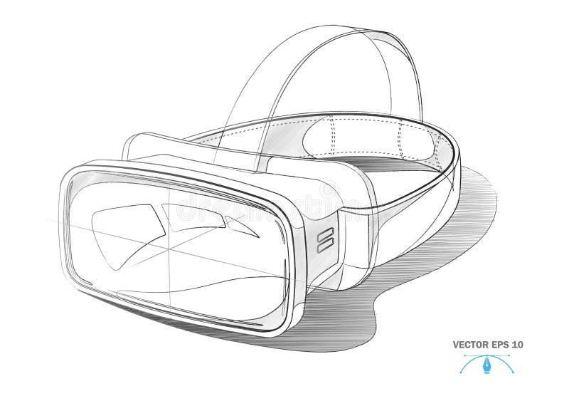 Casque de réalité virtuelle de vecteur, moquerie de masque de VR  illustration stock