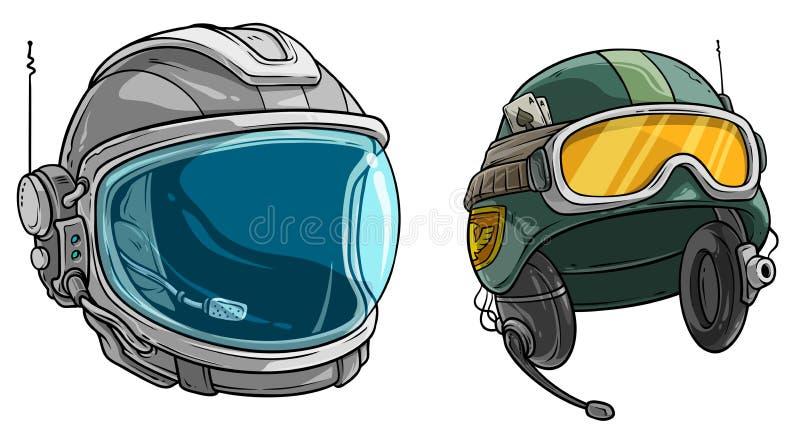 Casque de soldat d'astronaute et d'armée de l'espace de bande dessinée illustration stock