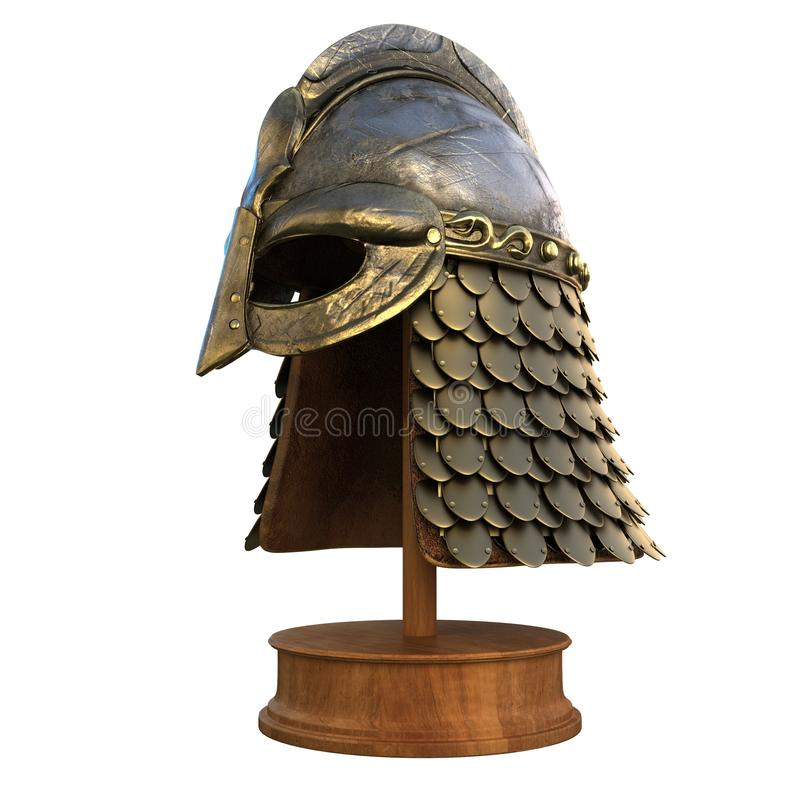Casque de Viking d'isolement sur un fond blanc photo libre de droits