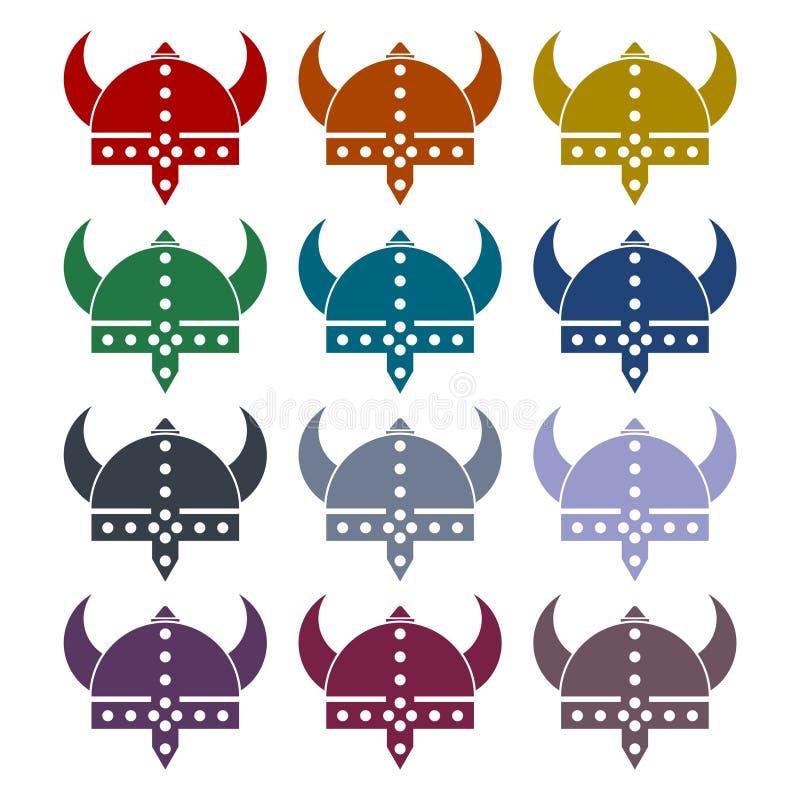 Casque de Viking - icônes de vecteur réglées illustration de vecteur