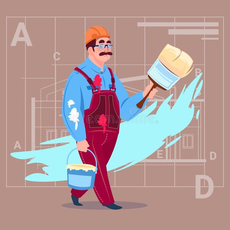 Casque de Wearing Uniform And de constructeur de décorateur de Hold Paint Brush de peintre de bande dessinée illustration stock