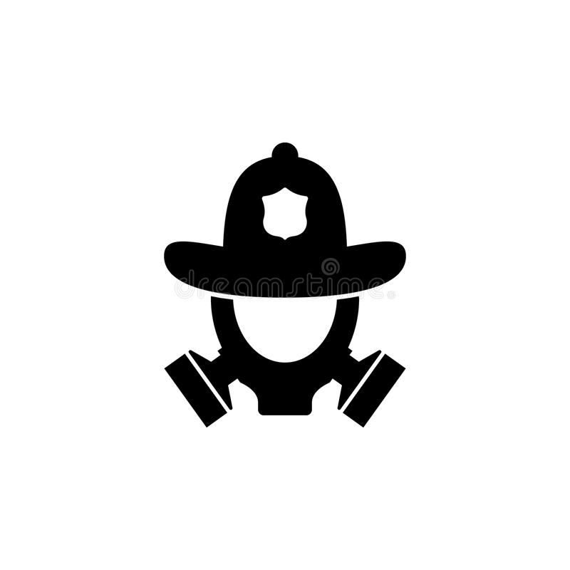 casque du feu et icône de masque de gaz Élément de boutique de sapeur-pompier pour les signes de publicité, le concept mobile et  illustration stock