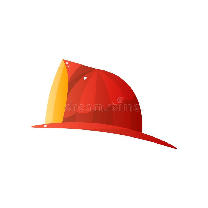 Casque en acier rouge de lutte anti-incendie d'isolement sur le fond blanc illustration stock