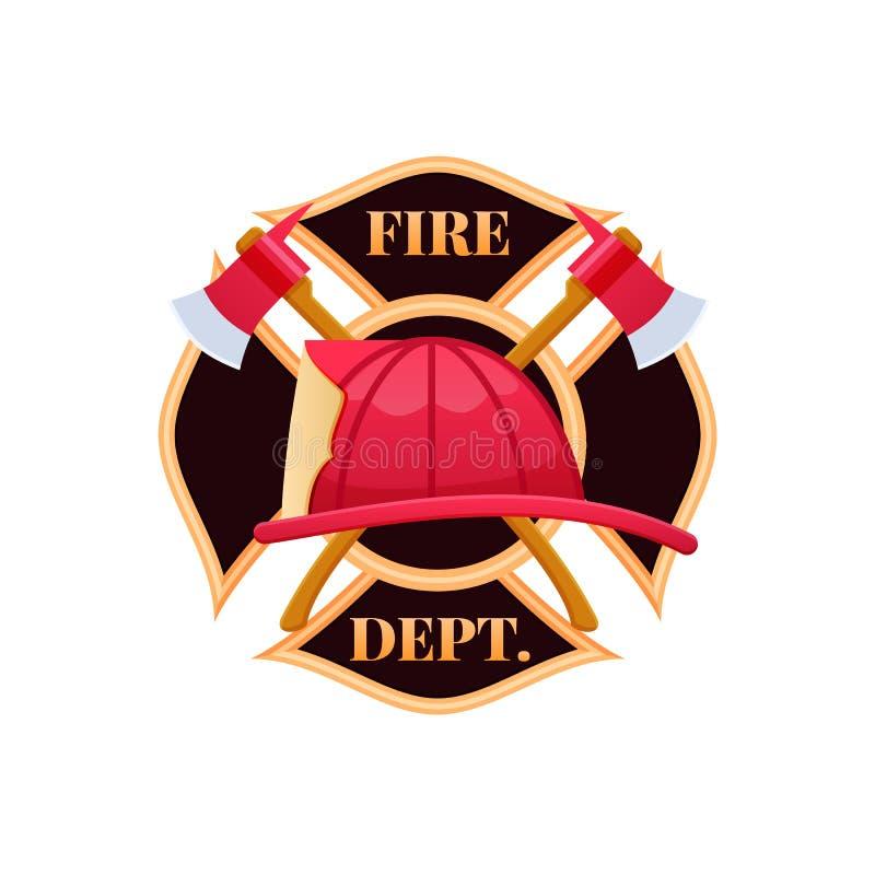 Casque en plastique du feu rouge, le feu de combat Icône de logo de département du feu illustration de vecteur
