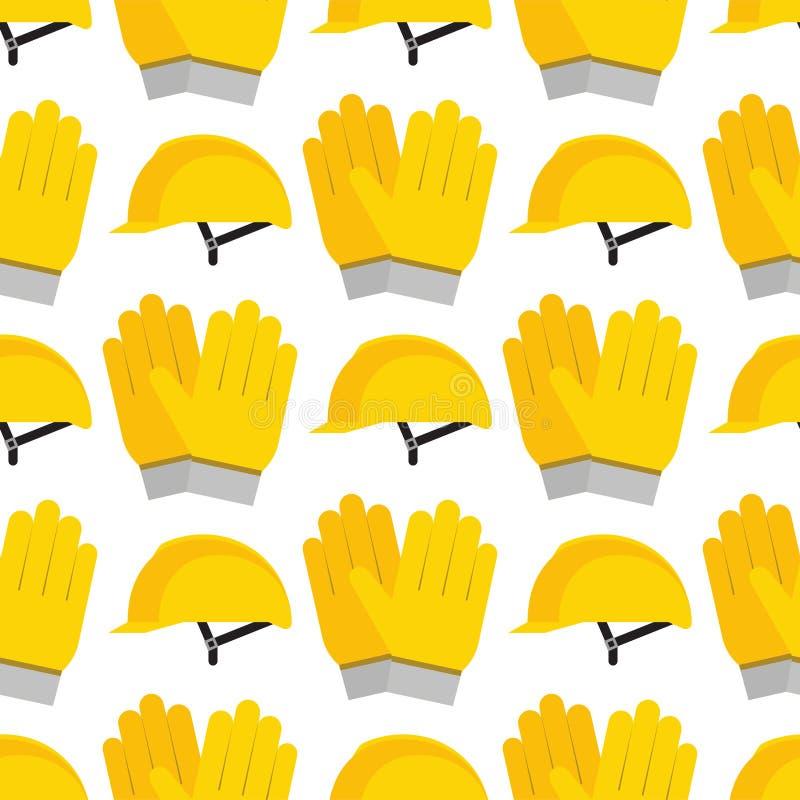 Casque en plastique jaune ou illustration sans couture de vecteur de modèle d'équipement sûr de tête d'ingénieur de casque antich illustration libre de droits