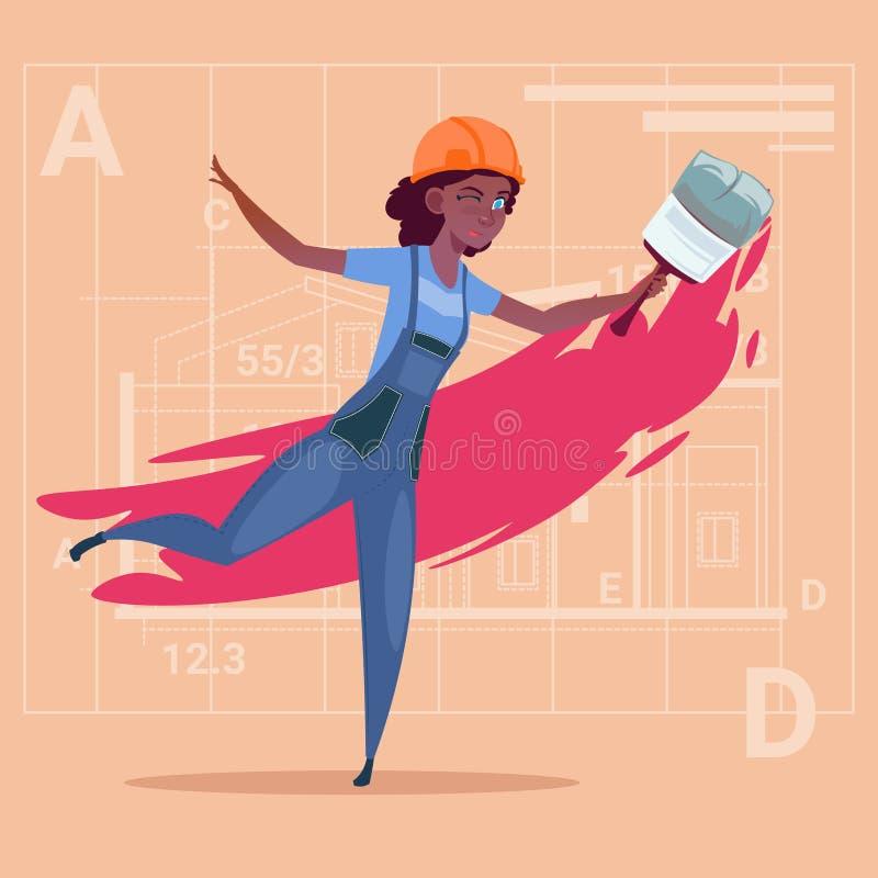 Casque femelle de Wearing Uniform And de constructeur de décorateur d'Afro-américain de Hold Paint Brush de peintre de bande dess illustration stock