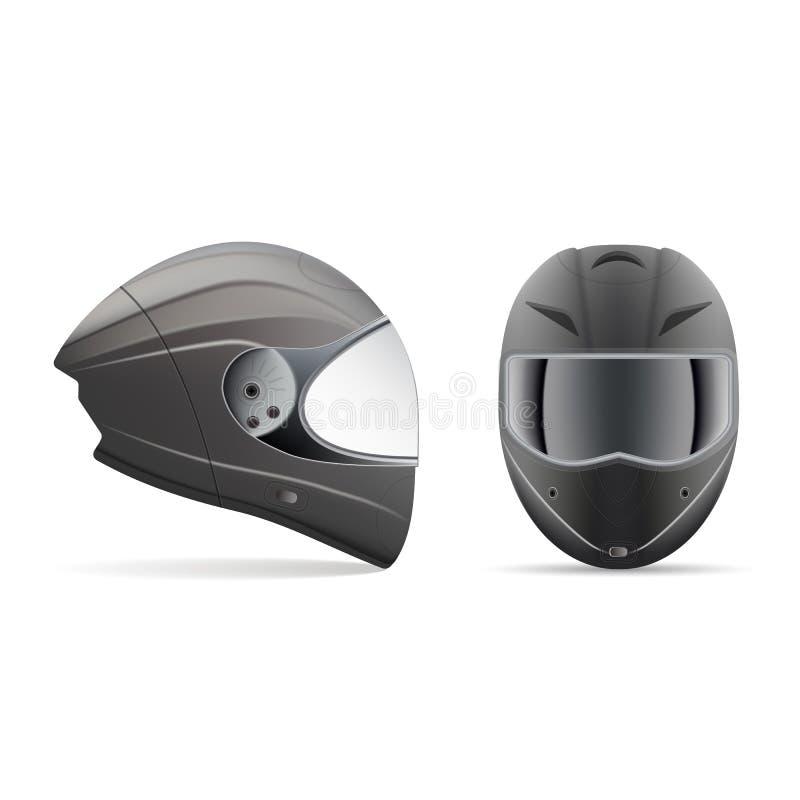 Casque gris-clair de haute qualité de moto Front And Side View Isolated sur un fond blanc Illustration de vecteur illustration de vecteur