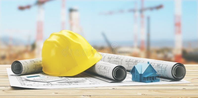 Casque jaune avec les projets et la cour de construction avec la grue images stock