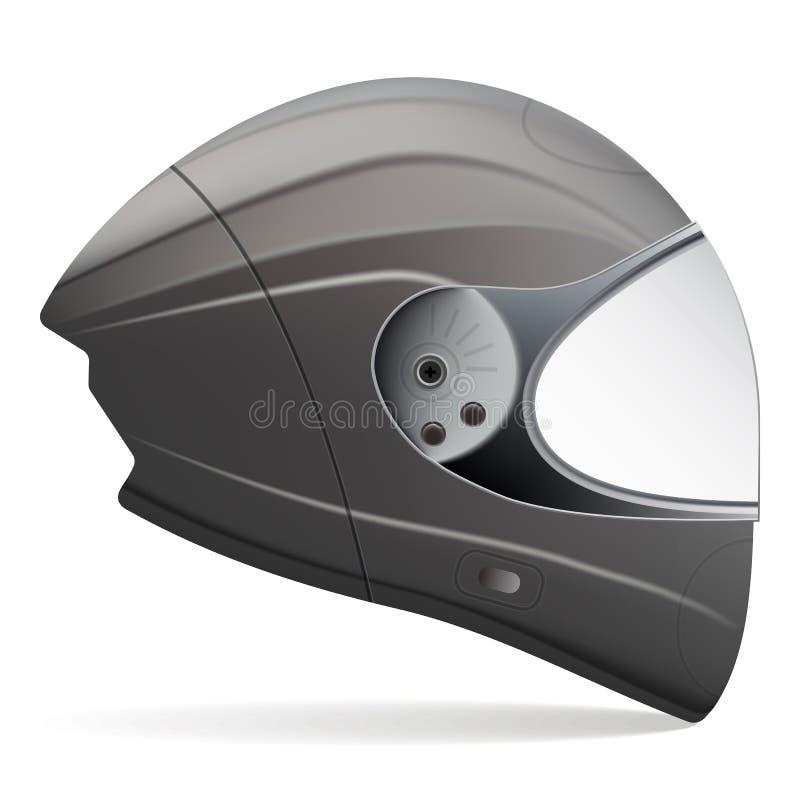 Casque noir de moto Vue de côté d'isolement sur un fond blanc Illustration de vecteur illustration libre de droits