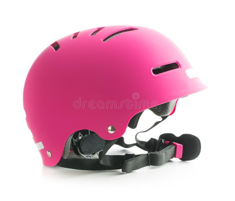 Casque rose de vélo image libre de droits