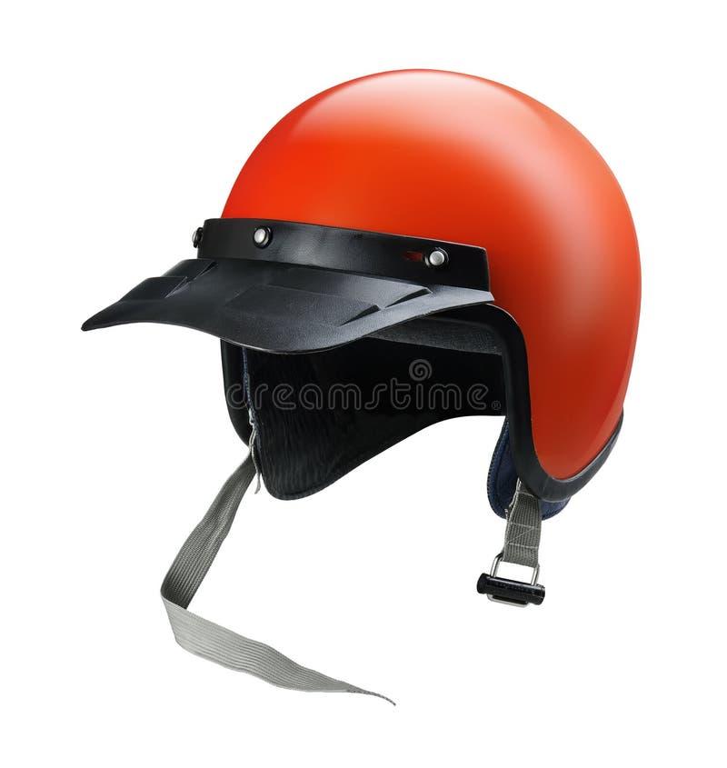 Casque rouge de moto de cru d'isolement photo libre de droits
