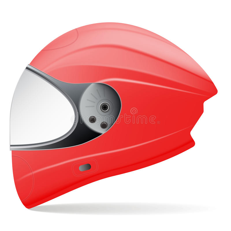 Casque rouge de moto Vue de côté d'isolement sur un fond blanc Illustration de vecteur illustration stock