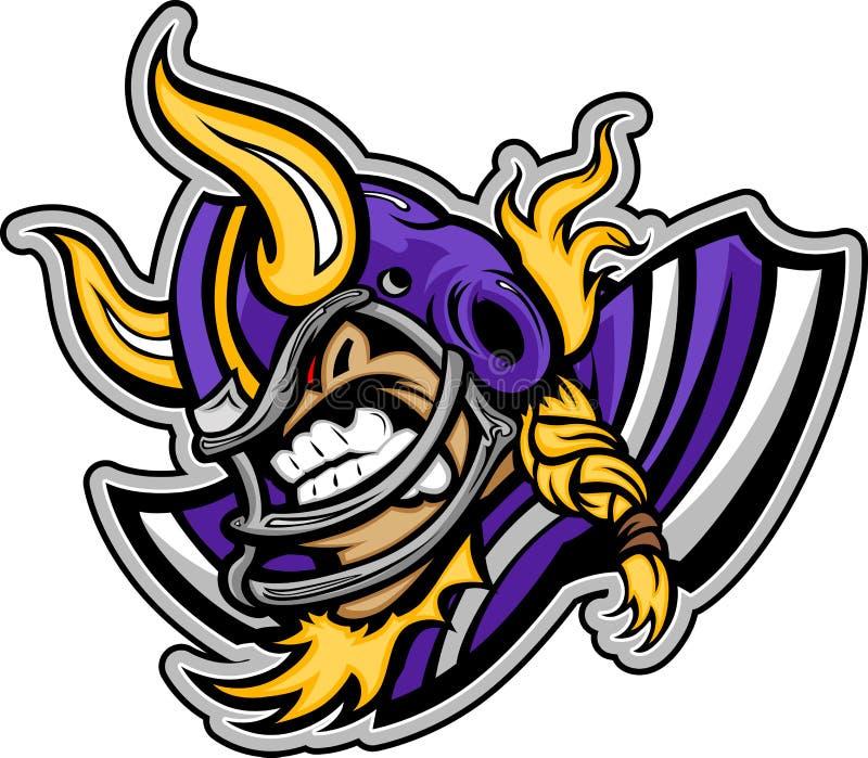 Casque s'usant de mascotte du football de Viking illustration de vecteur
