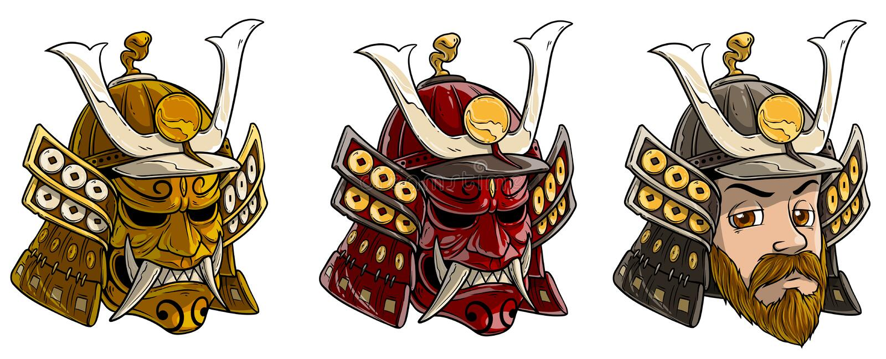 Casque samouraï japonais de bande dessinée avec le masque effrayant illustration libre de droits