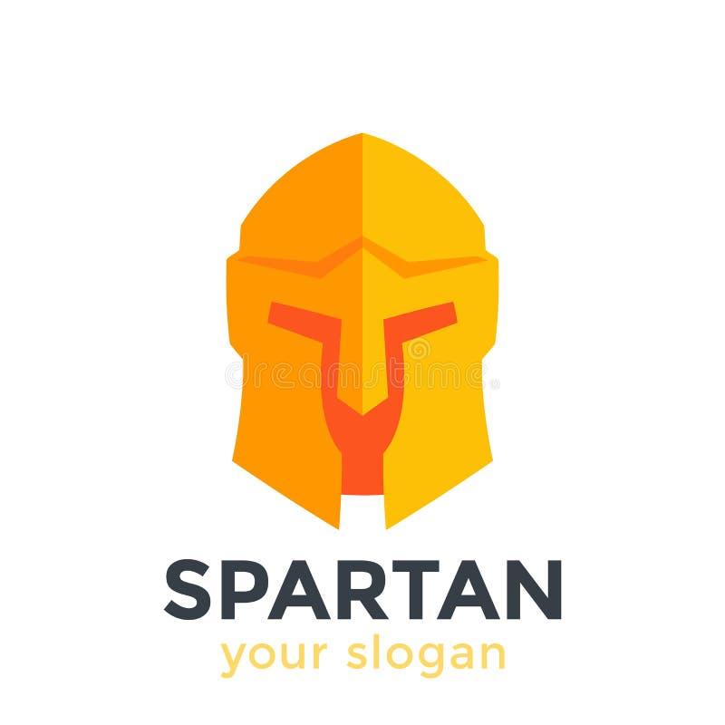 Casque spartiate, élément de logo de vecteur dans le style plat illustration de vecteur