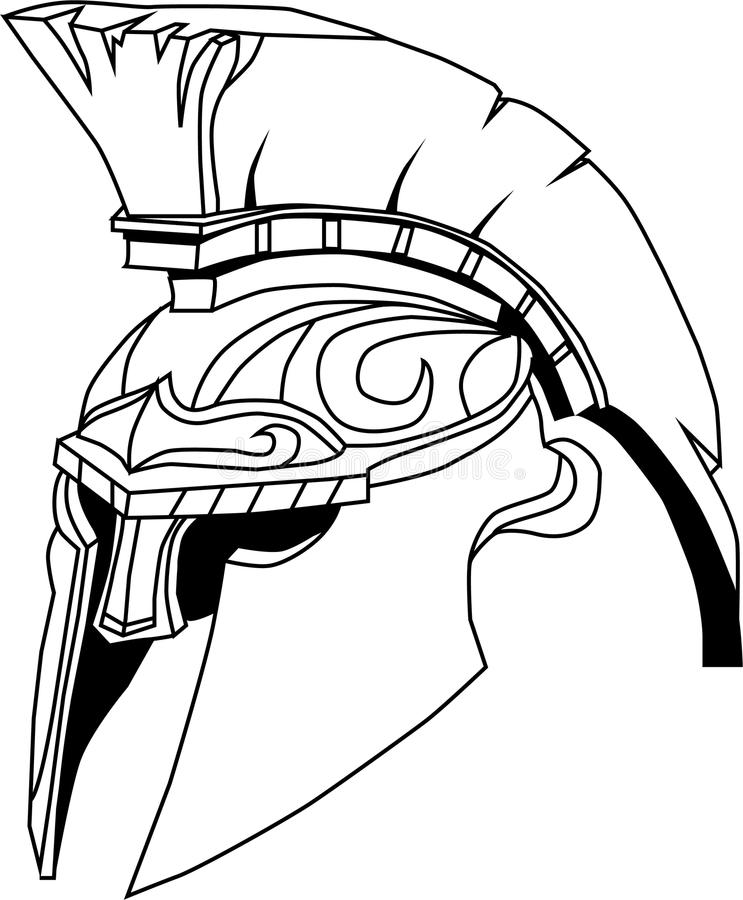 Casque spartiate (illustration d'un casque de guerrier du grec ancien, illustration stock