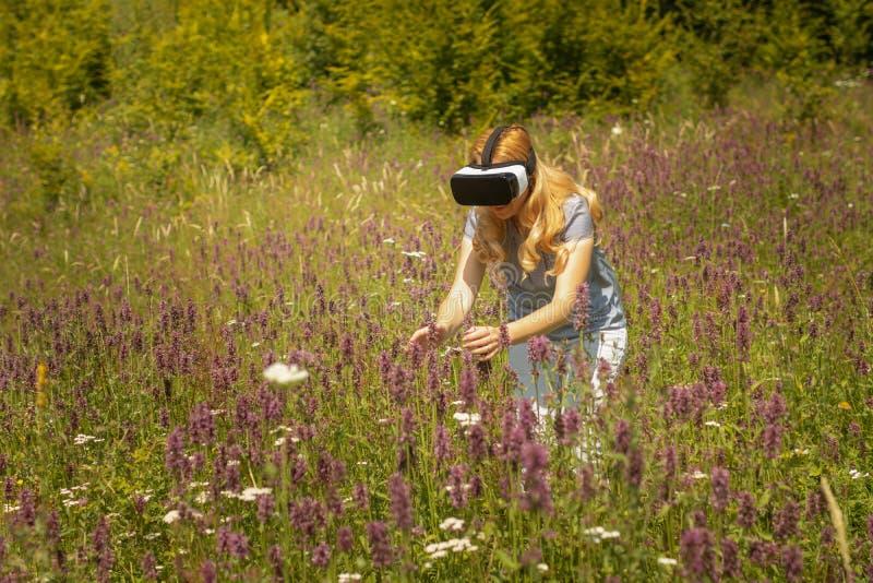 Casque weating de réalité virtuelle de femme se reposant au milieu d'un champ des fleurs Expérience d'Immersive VR photographie stock