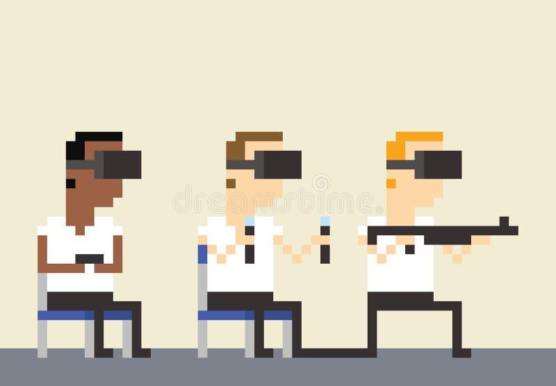 Casques d'Art Image Of Gamers Wearing VR de pixel illustration libre de droits