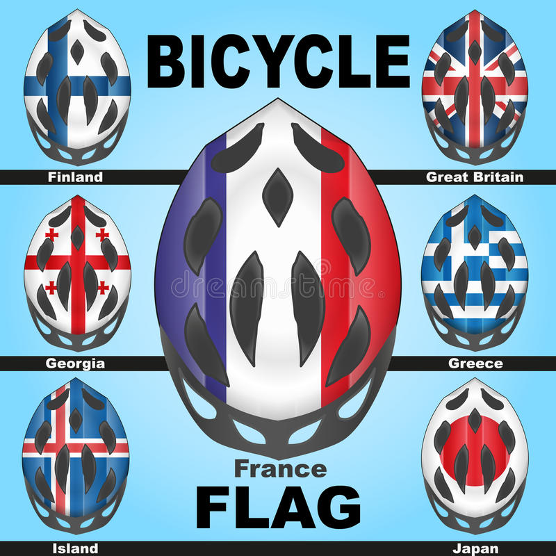 Casques De Bicyclette D Icônes Et Pays De Drapeaux Photo libre de droits