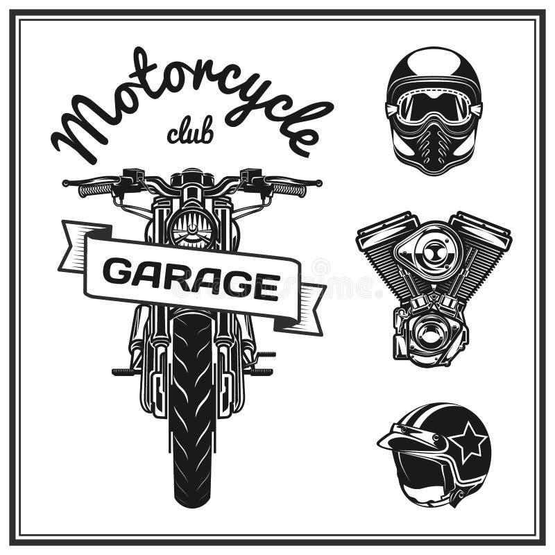 Casques et moteur réglés de qualité d'éléments de moto illustration stock