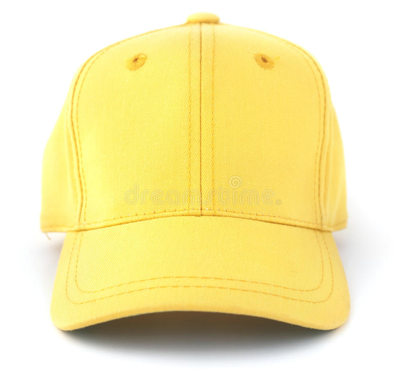 Casquette de baseball jaune photographie stock