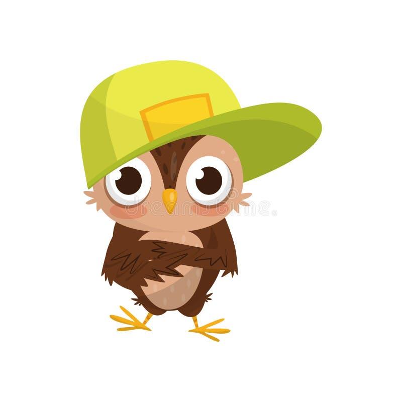 Casquette de baseball de port de beau petit jeune hibou, illustration mignonne de vecteur de personnage de dessin animé d'oiseau  illustration libre de droits