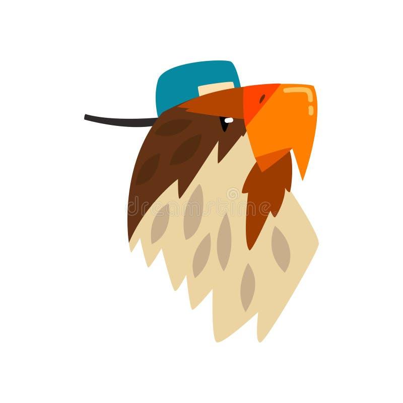 Casquette de baseball de port d'Eagle, illustration de vecteur de bande dessinée de portrait d'oiseau sur un fond blanc illustration libre de droits