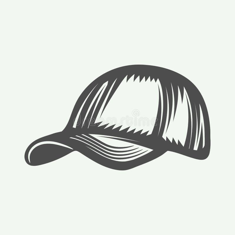 Casquette de baseball de vintage dans le rétro style L'industrie graphique monochrome illustration libre de droits