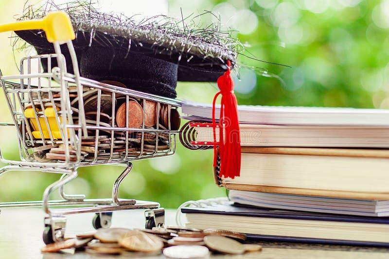 Casquillo académico cuadrado en moneda del dinero en mini carro de la compra o duende foto de archivo