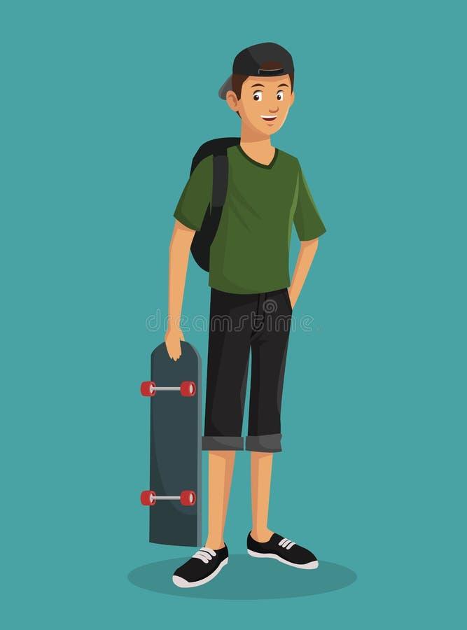 Casquillo adolescente del patinador de la camiseta del verde del muchacho libre illustration