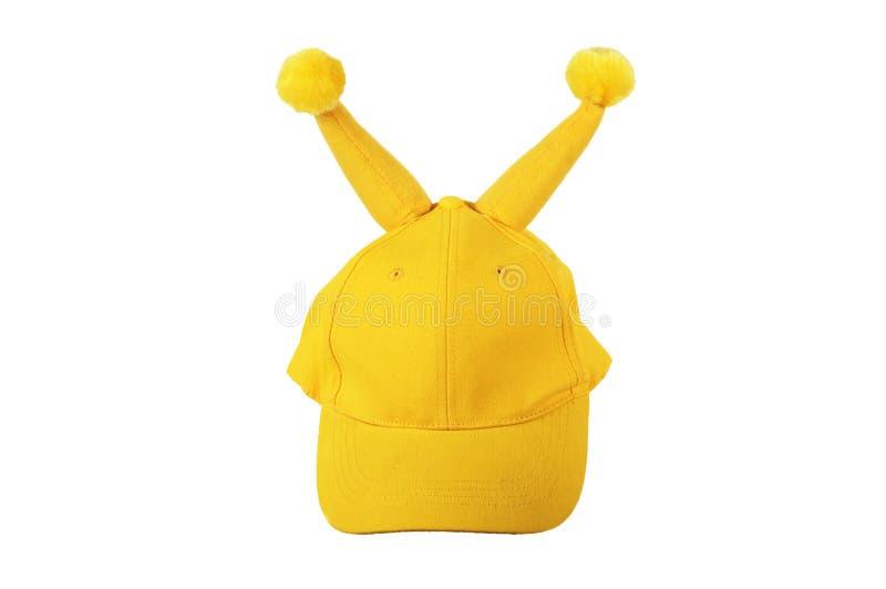 Casquillo amarillo con los pequeños claxones fotografía de archivo libre de regalías