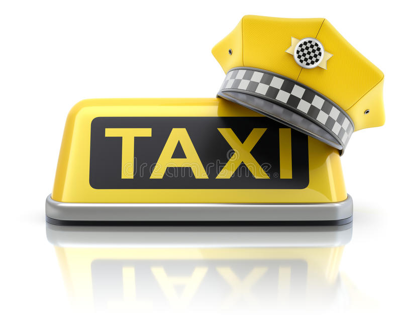 Casquillo amarillo del taxista en muestra del tejado del coche del taxi libre illustration