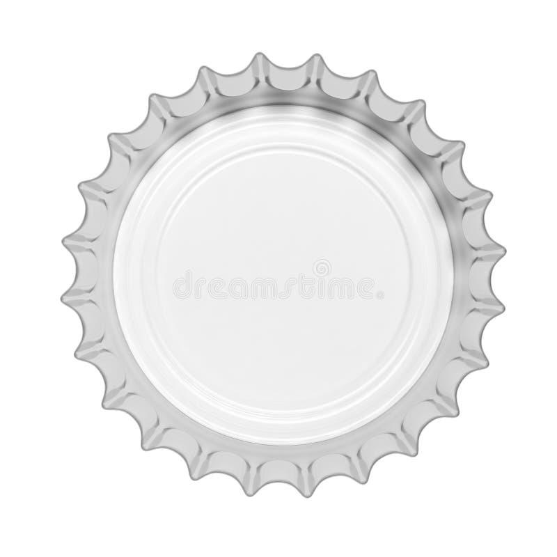 Casquillo de cristal de la botella de cerveza aislado en el fondo blanco, visión superior ilustración 3D libre illustration