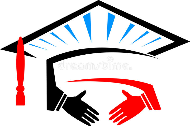 Casquillo de la educación con el apretón de manos ilustración del vector