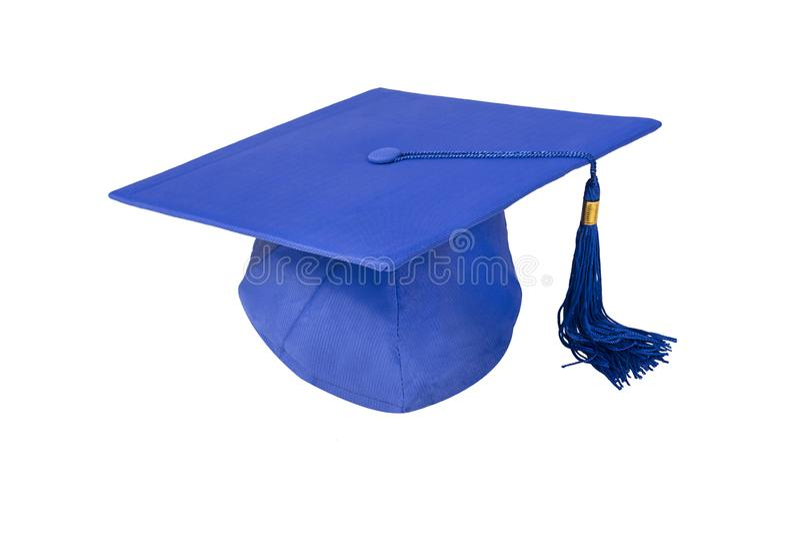 Casquillo de la graduación aislado en blanco fotos de archivo libres de regalías