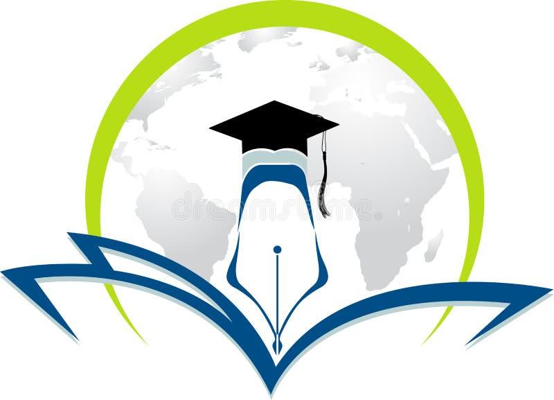 Casquillo de la graduación del mundo stock de ilustración