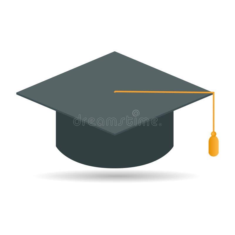 Casquillo de la graduación de la diversión Casquillo académico Diseño plano stock de ilustración